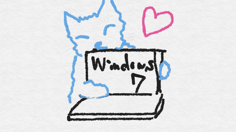 Windows 7を抱きしめてハートマークの黒猫