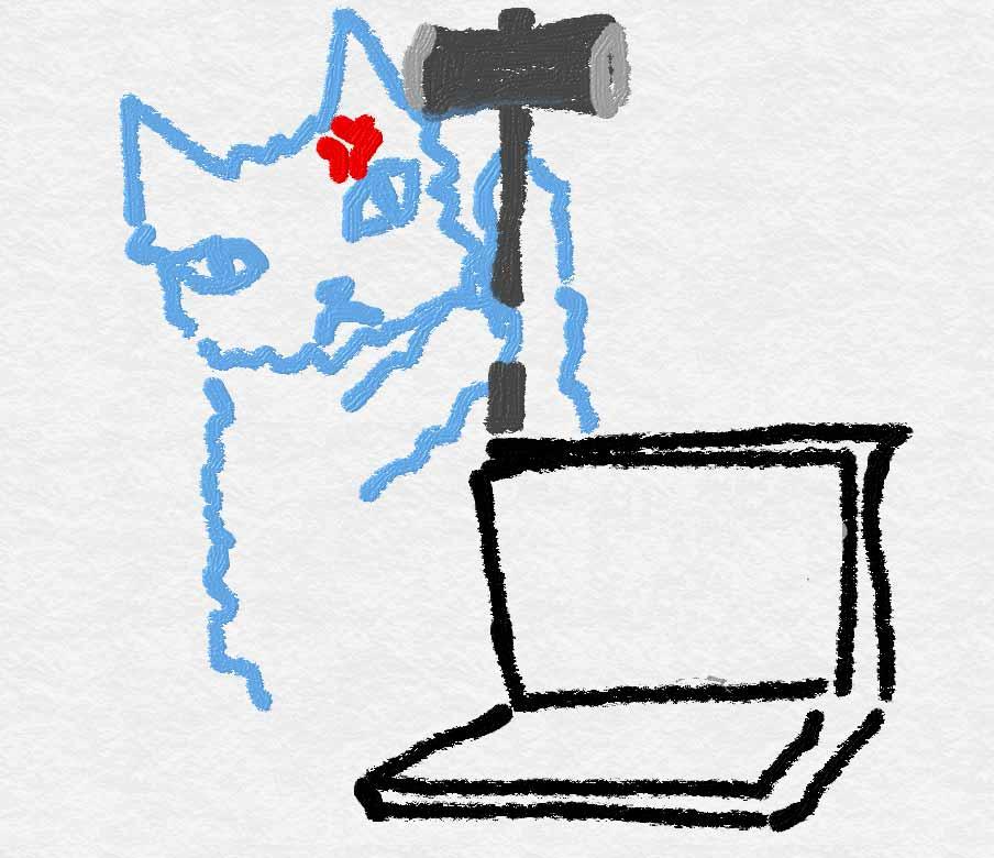 Windows 8 PCに対して、ハンマーを持って破壊を試みる超イライラした黒猫